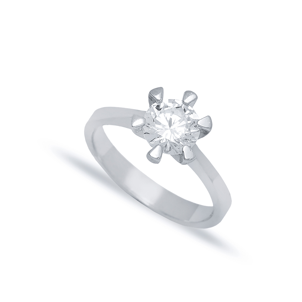 Six Claw Solitaire Engagement Ring Wholesale Turkish 925 Sterling Silver Jewelry