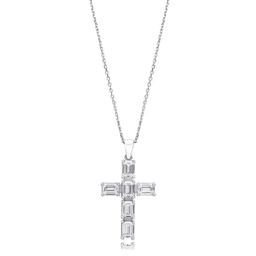 Cross Baguette Design Pendant Turkish Wholesale Handmade 925 Sterling Silver Jewelry
