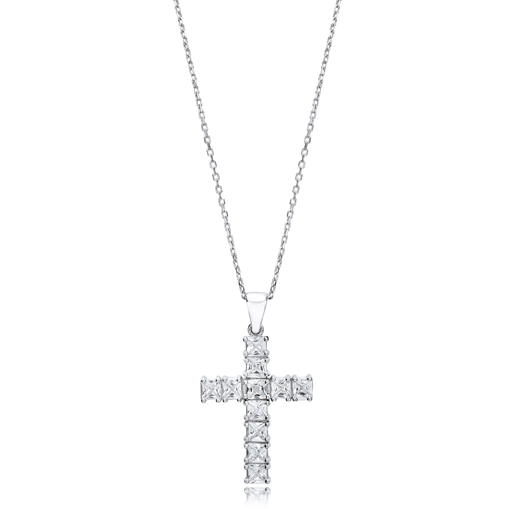 Cross Princess Cut Design Pendant Turkish Wholesale Handmade 925 Sterling Silver Jewelry