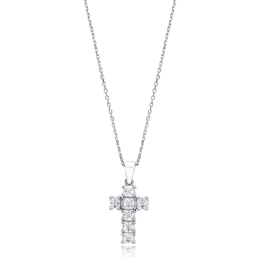 Mini Cross Baguette Design Pendant Turkish Wholesale Handmade 925 Sterling Silver Jewelry