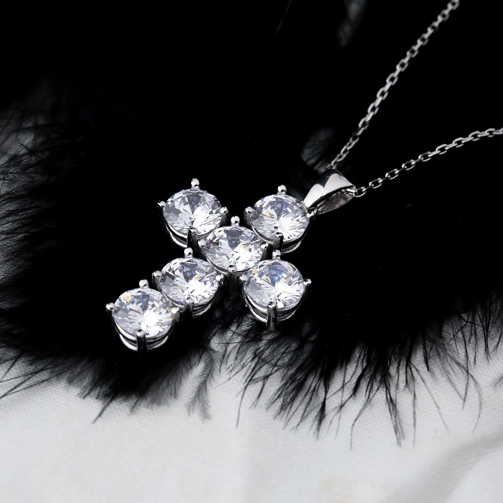 Cross Round Cut Design Pendant Turkish Wholesale Handmade 925 Sterling Silver Jewelry