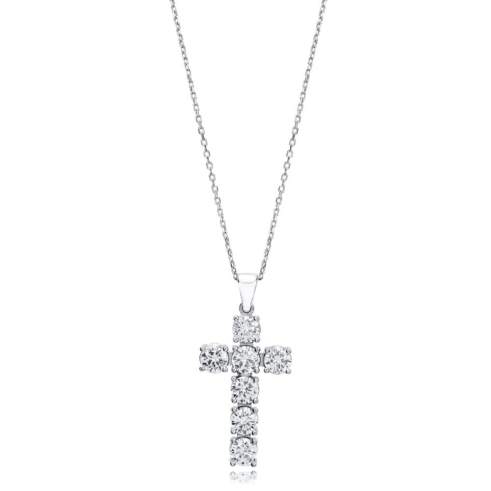 Cross  Elegant Round Cut Design Pendant Turkish Wholesale Handmade 925 Sterling Silver Jewelry