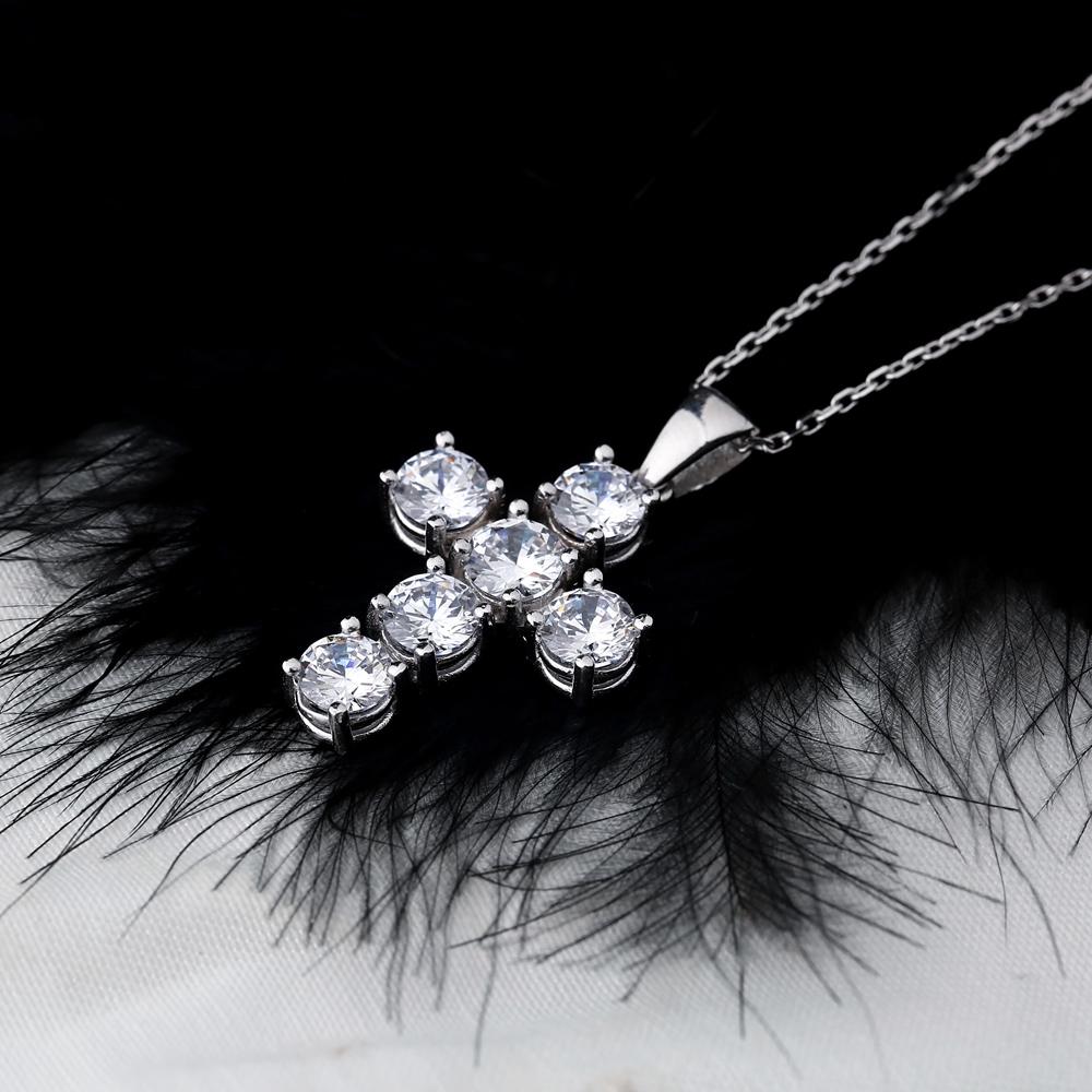 Cross Mini Round Cut Design Pendant Turkish Wholesale Handmade 925 Sterling Silver Jewelry