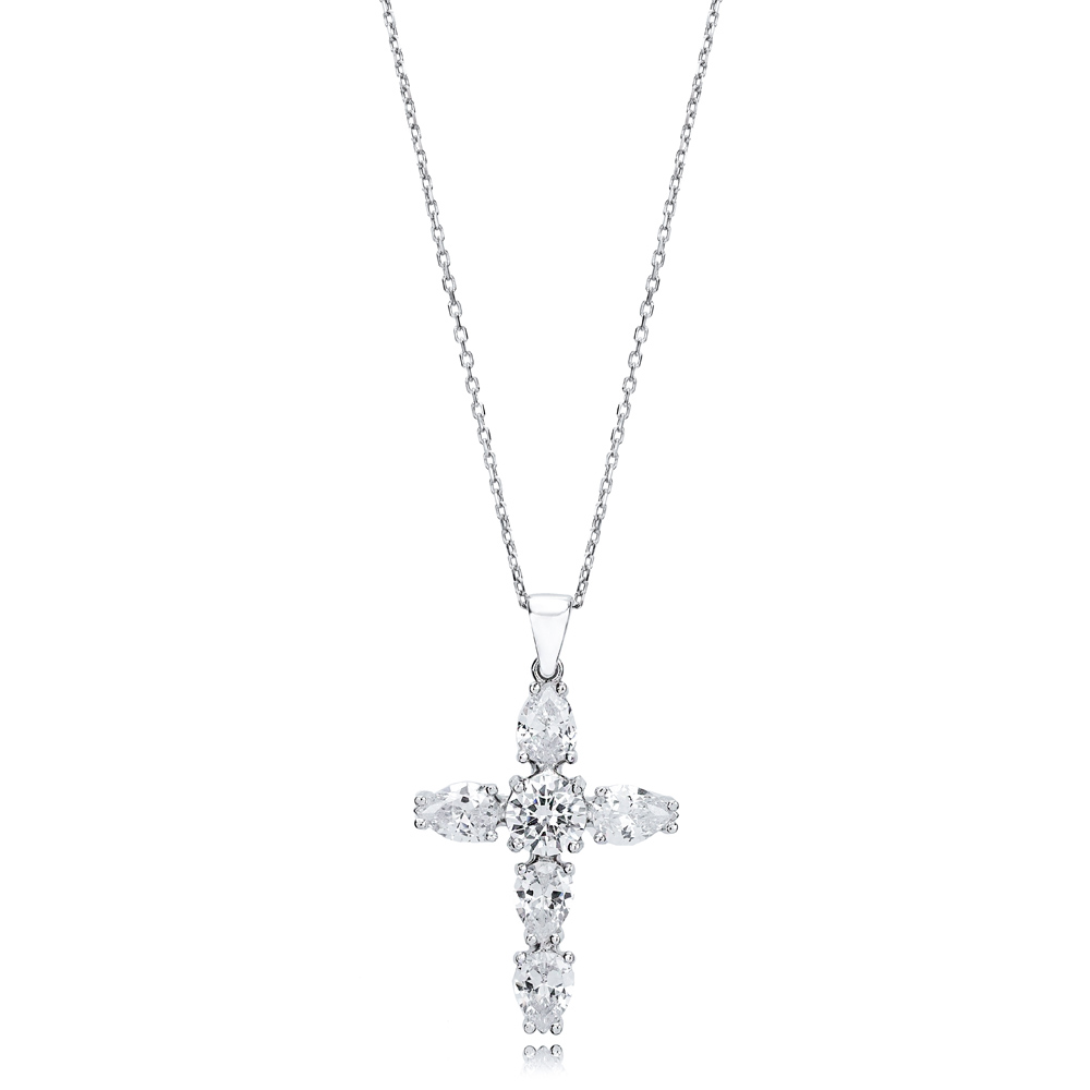 Cross Pear Cut Design Pendant Turkish Wholesale Handmade 925 Sterling Silver Jewelry