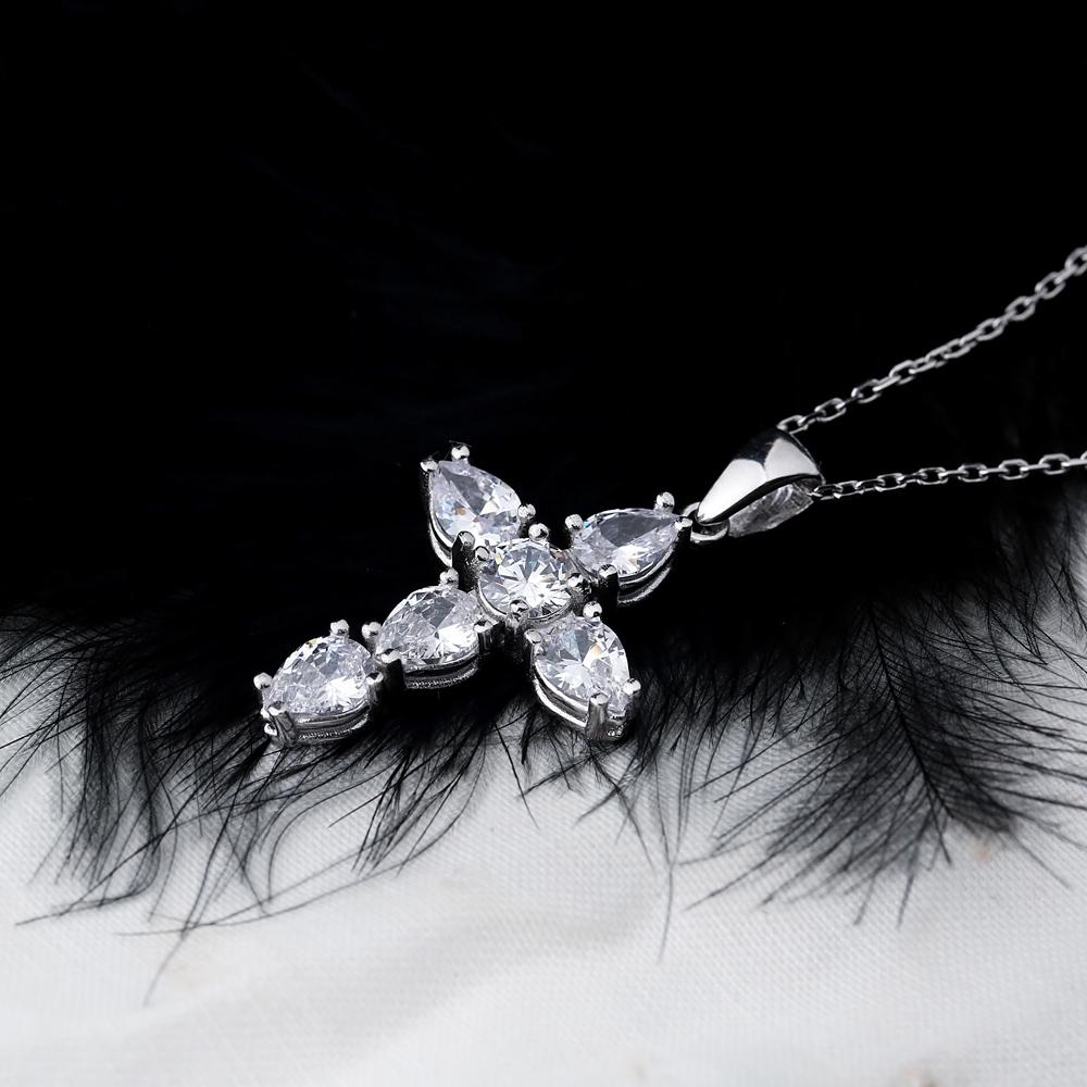 Cross Mini Pear Cut Design Pendant Turkish Wholesale Handmade 925 Sterling Silver Jewelry