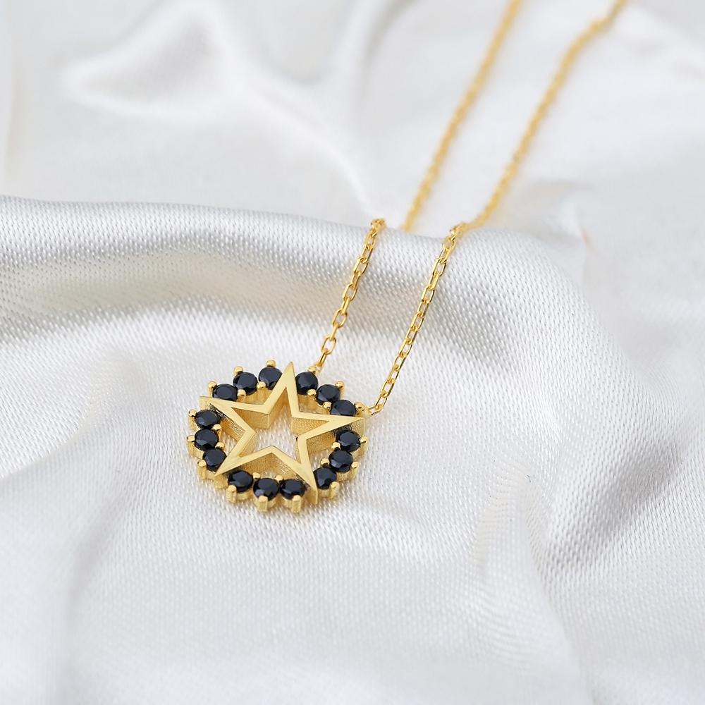 Star Charm Black Zircon Rounded Pendant Turkish Handmade 925 Sterling Silver Jewelry