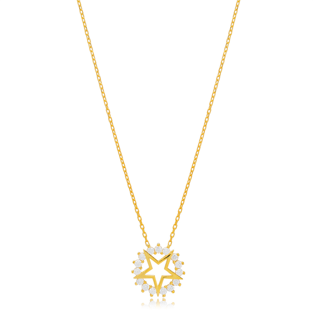 Star Charm Zircon Rounded Pendant Turkish Handmade 925 Sterling Silver Jewelry