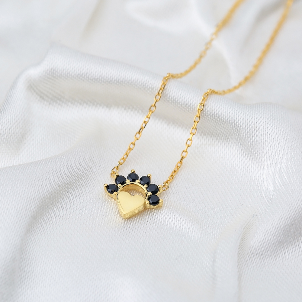Mini Heart Charm Black Zircon Pendant Turkish Handmade 925 Sterling Silver Jewelry