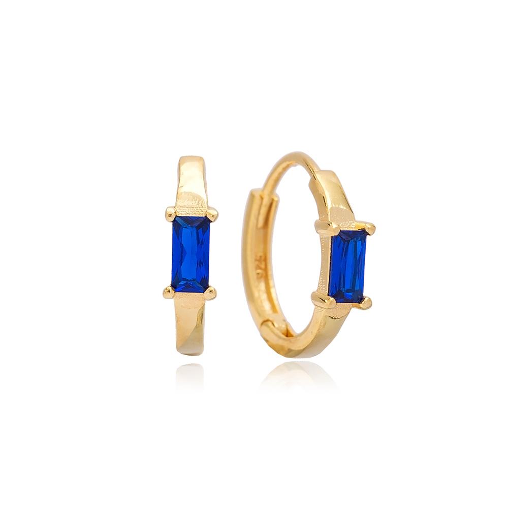 Sapphire Stone Design 14Ø mm Hoop Earring Turkish Wholesale 925 Sterling Silver Jewellery