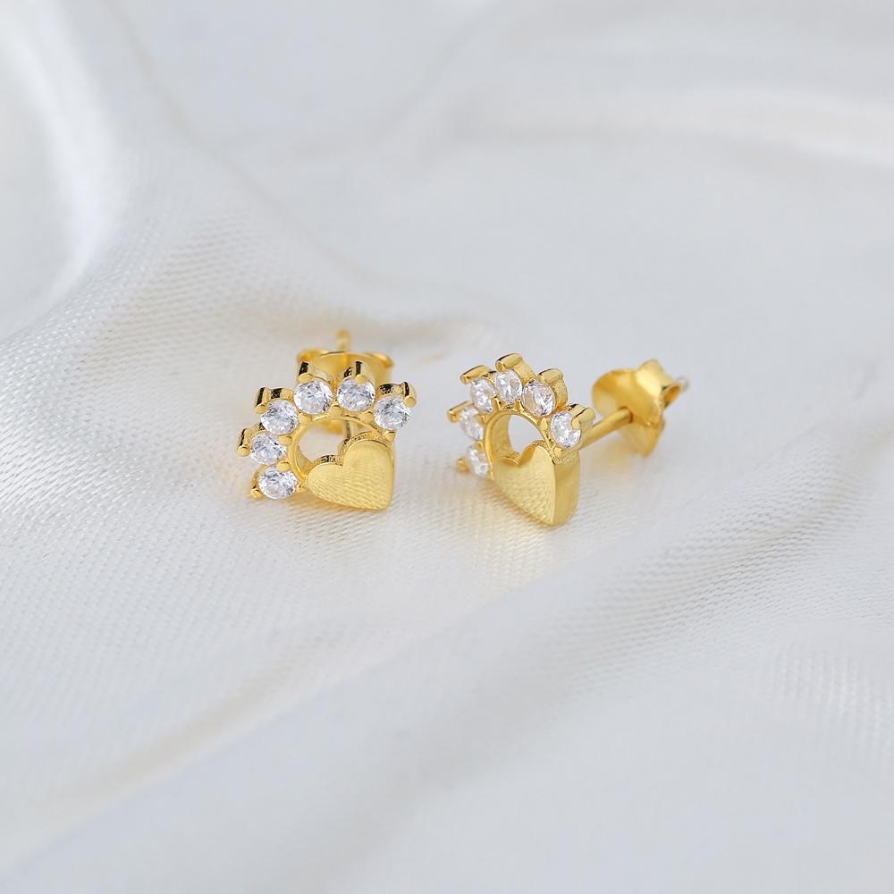 Divine Heart Zircon Stud Earring Turkish Wholesale 925 Sterling Silver Jewelry