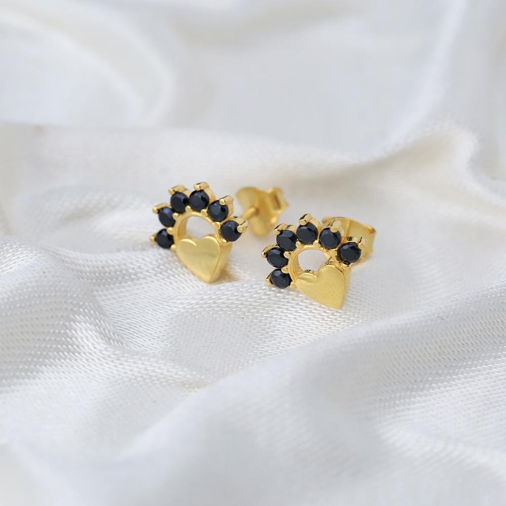 Divine Heart Black Zircon Stud Earring Turkish Wholesale 925 Sterling Silver Jewelry