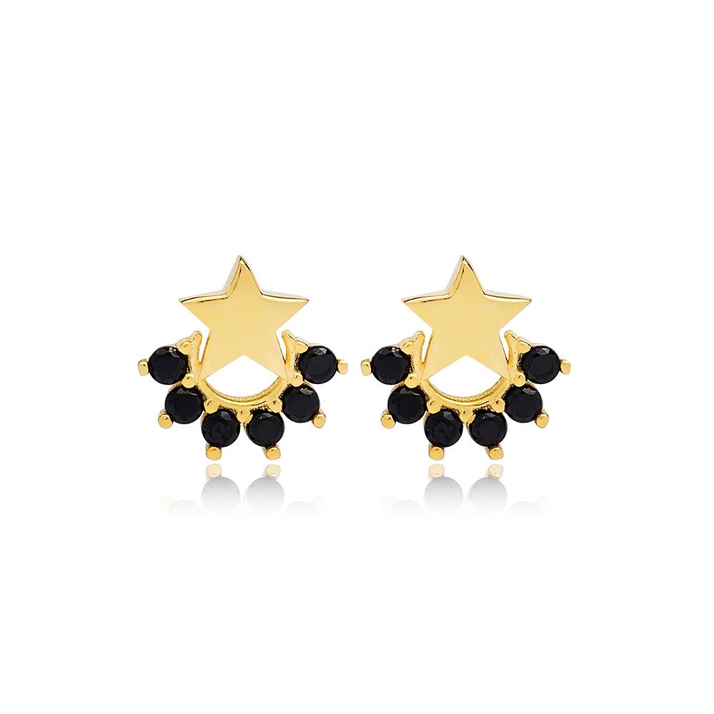 Small Star Black Zircon Stud Earring Turkish Wholesale 925 Sterling Silver Jewelry