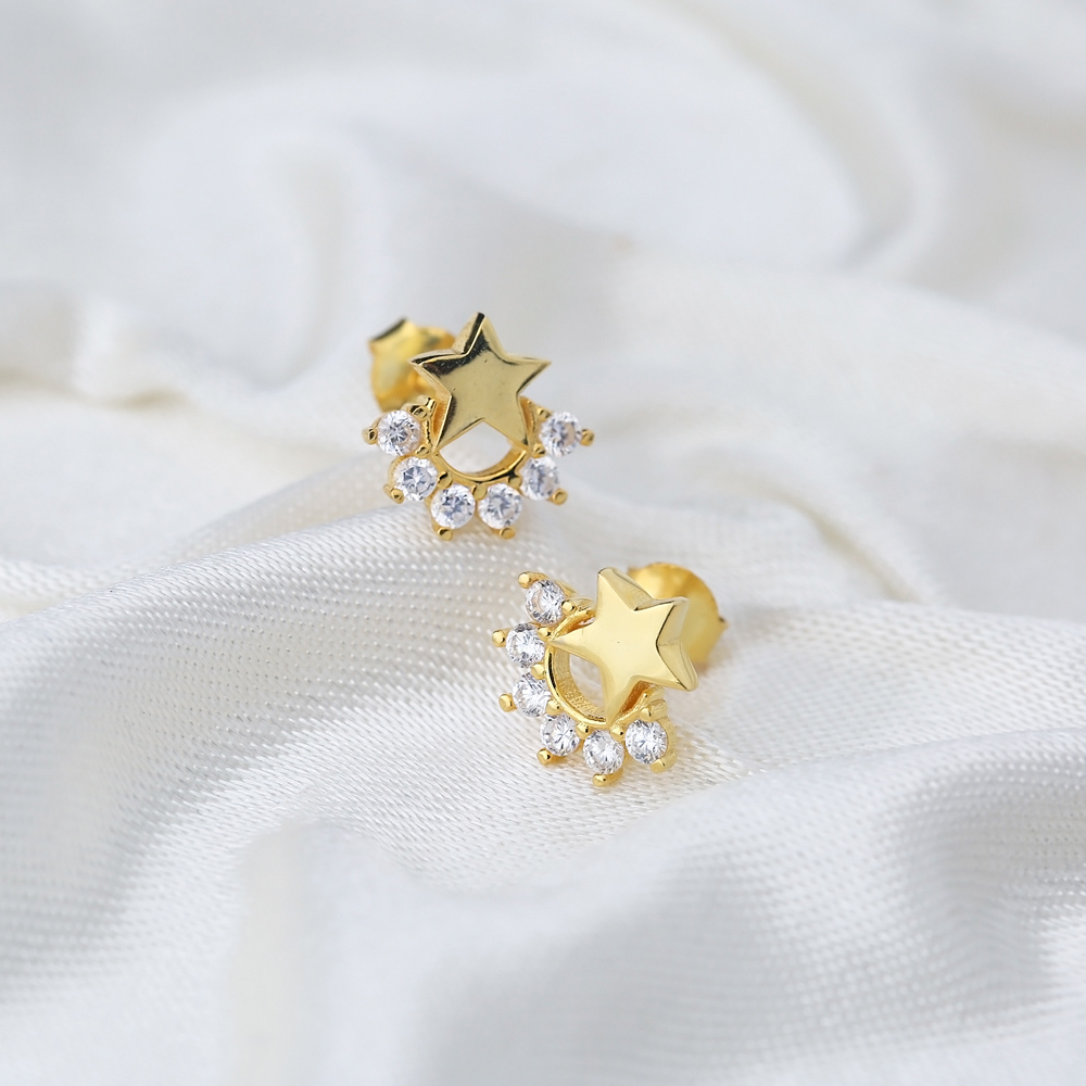 Small Star Zircon Stud Earring Turkish Wholesale 925 Sterling Silver Jewelry