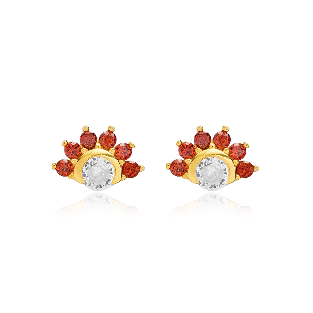 Sparkling Ruby Stud Earring Turkish Wholesale 925 Sterling Silver Jewelry
