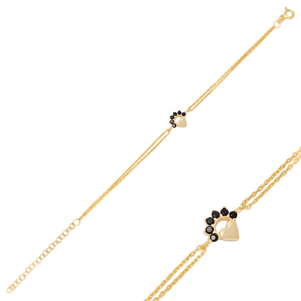 Divine Heart Black Zircon Bracelet Turkish Wholesale 925 Sterling Silver Jewelry