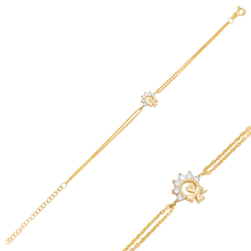 Four Leaf Clover Zircon Bracelet Turkish Wholesale 925 Sterling Silver Jewelry
