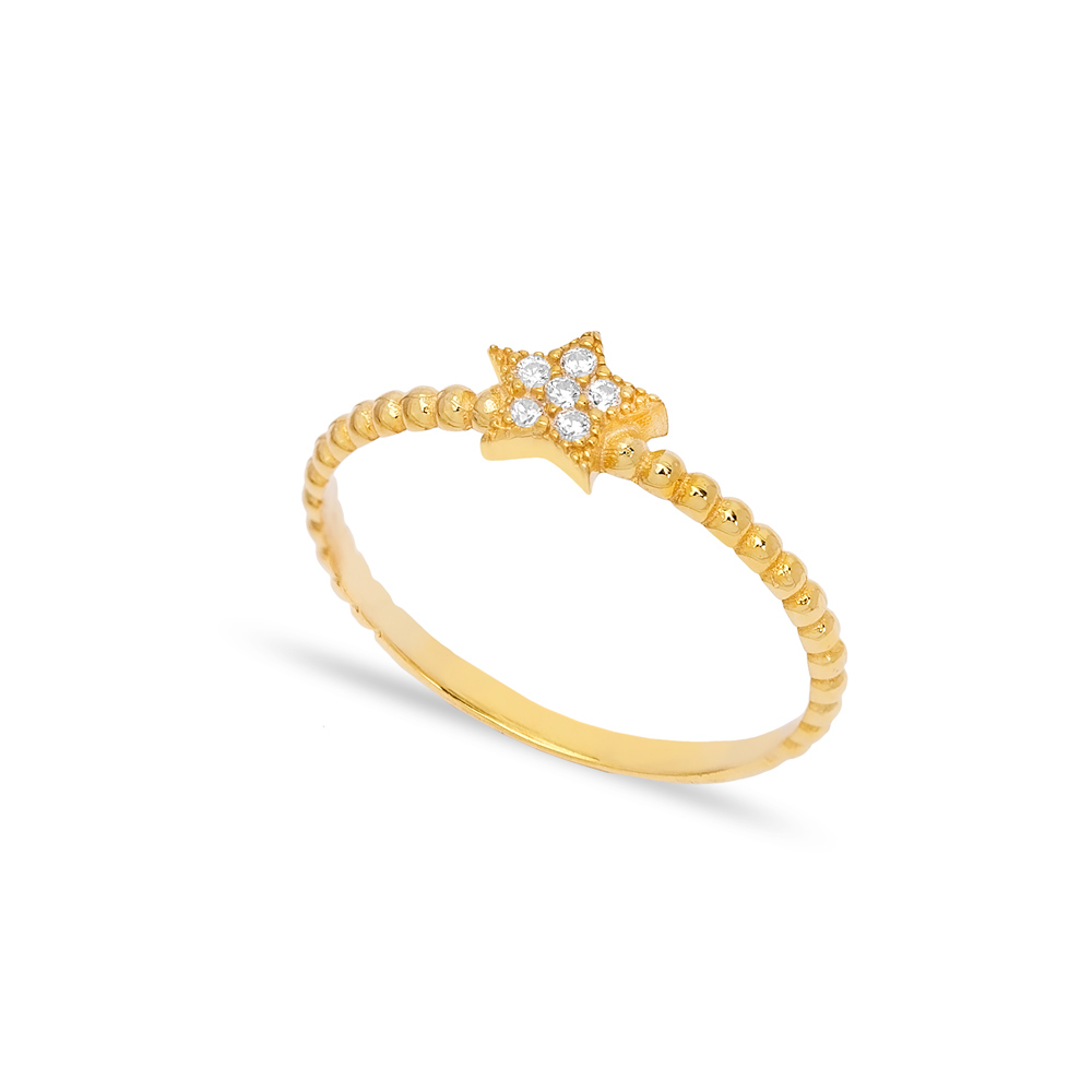 Tiny Star Design Zircon Stone Cluster Ring Wholesale 925 Sterling Silver Jewelry
