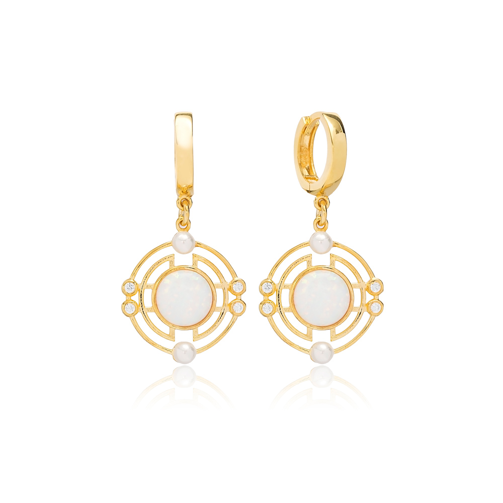 Lovely Round Design Opal Stone Dangle Earrings Turkish Wholesale Sterling Silver Jewelry