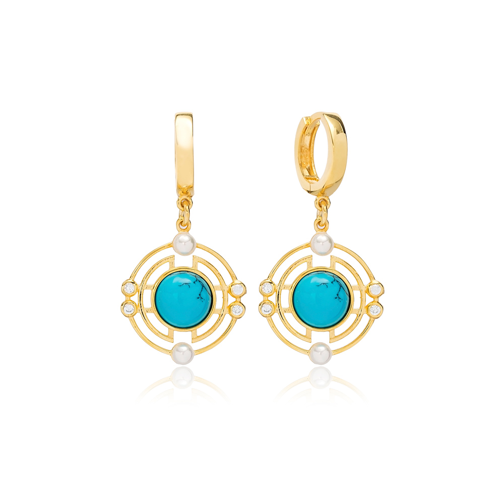 Lovely Round Design Turquiose Dangle Earrings Turkish 925 Sterling Silver Jewelry
