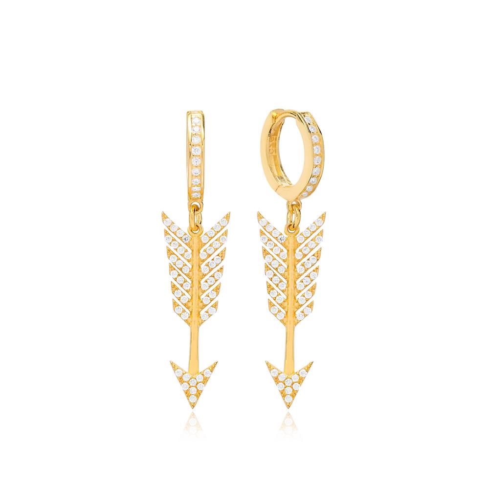 Zircon Arrow Dangle Earring Wholesale 925 Sterling Silver Jewelry