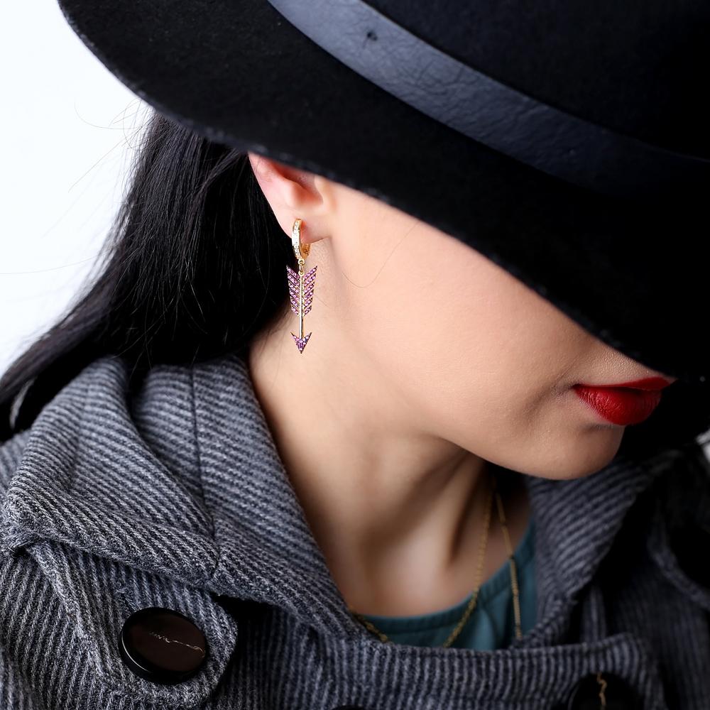 Ruby Arrow Dangle Earrings Turkish Wholesale 925 Sterling Silver Jewelry