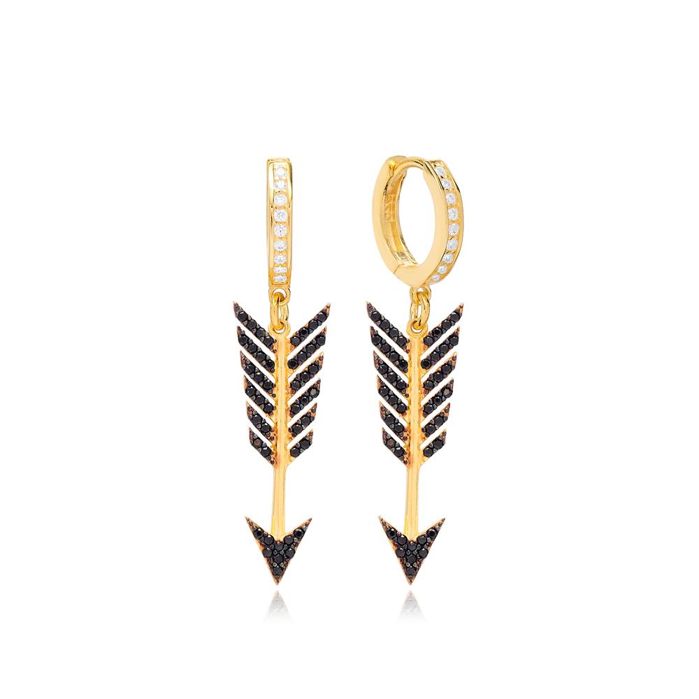 Black Zircon Arrow Dangle Earring Turkish Wholesale 925 Sterling Silver Jewelry