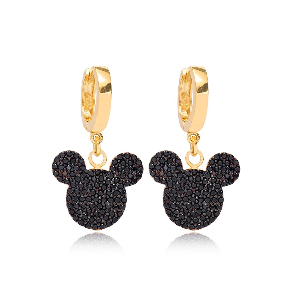 Black Zircon Mouse Dangle Earring Wholesale 925 Sterling Silver Jewelry