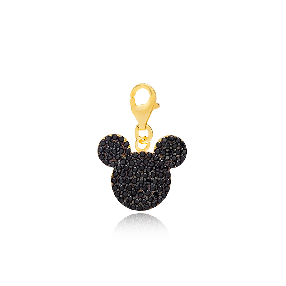 Black Zircon Mouse Charm Wholesale Handmade Turkish 925 Silver Sterling Jewelry