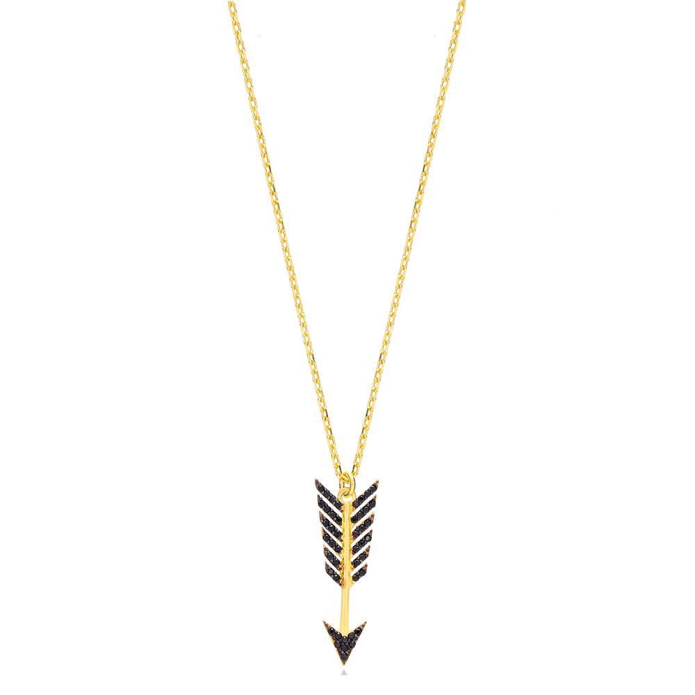 Black Zircon Arrow Charm Pendant Turkish Handmade 925 Sterling Silver Jewelry