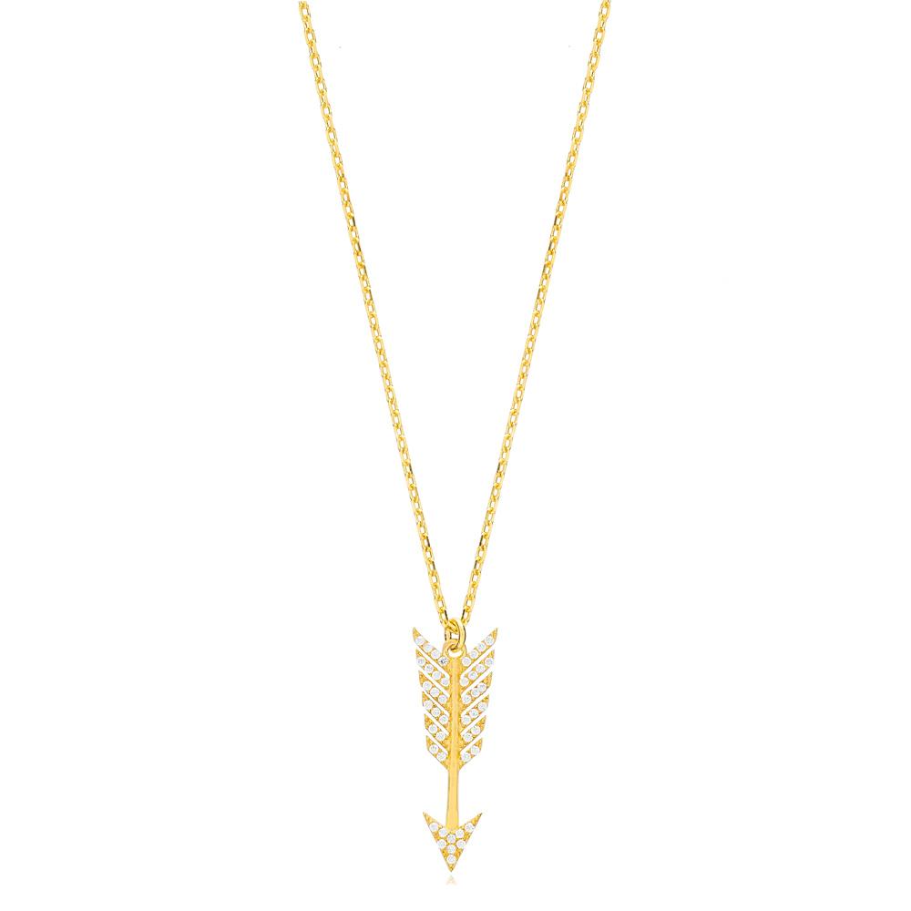 Zircon Arrow Charm Pendant Turkish Handmade 925 Sterling Silver Jewelry
