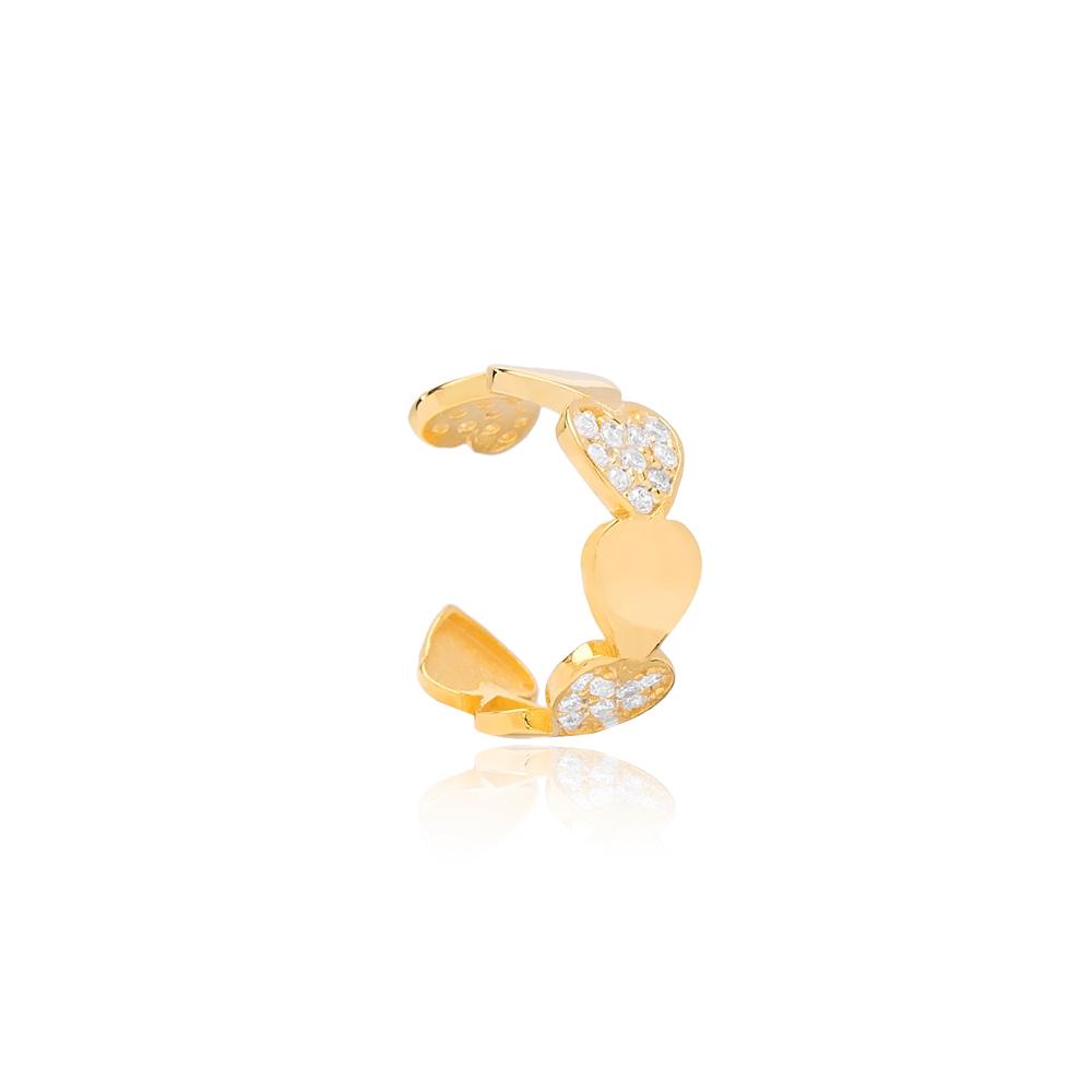 Tender Heart Design Cartilage Single Earring Turkish 925 Silver Sterling Jewelry