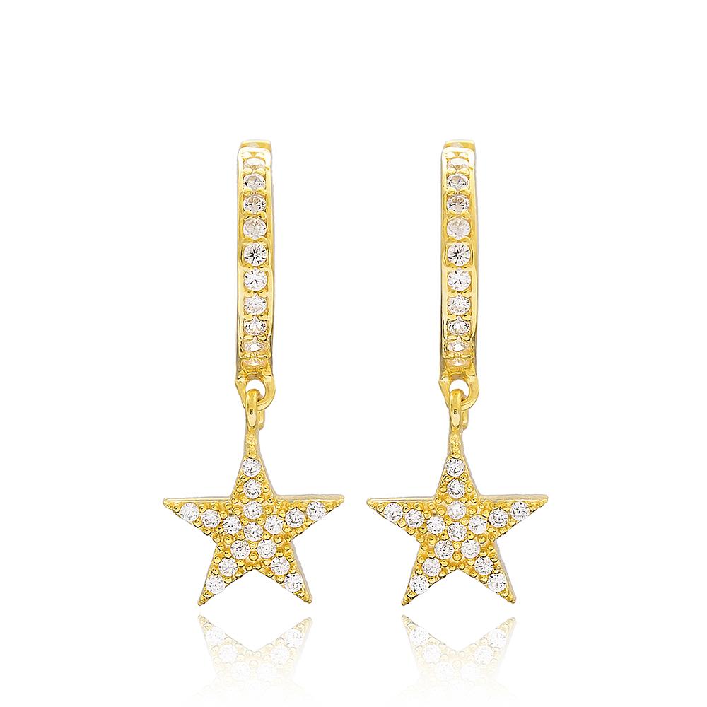 Star Design Dangle Earrings Turkish Wholesale Handmade Sterling Silver Jewellery