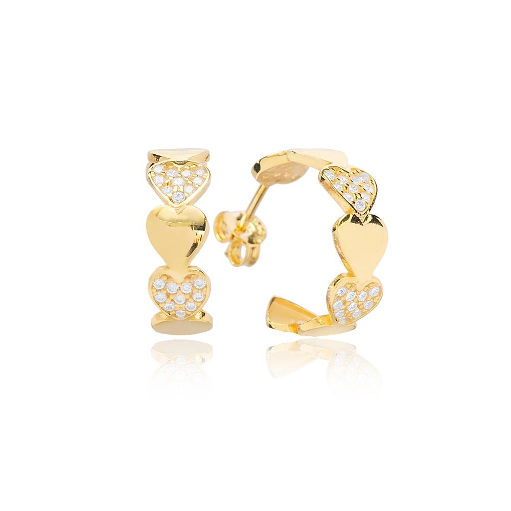 Tender Heart Push Back Ø17mm Hoop Earrings Turkish Wholesale Silver Jewelry