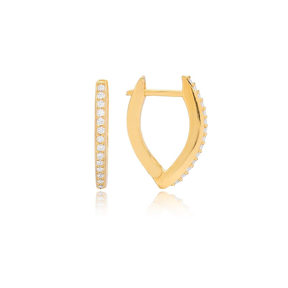 V Shape Zircon Stone Hoop Earring Turkish Wholesale 925 Sterling Silver Jewellery