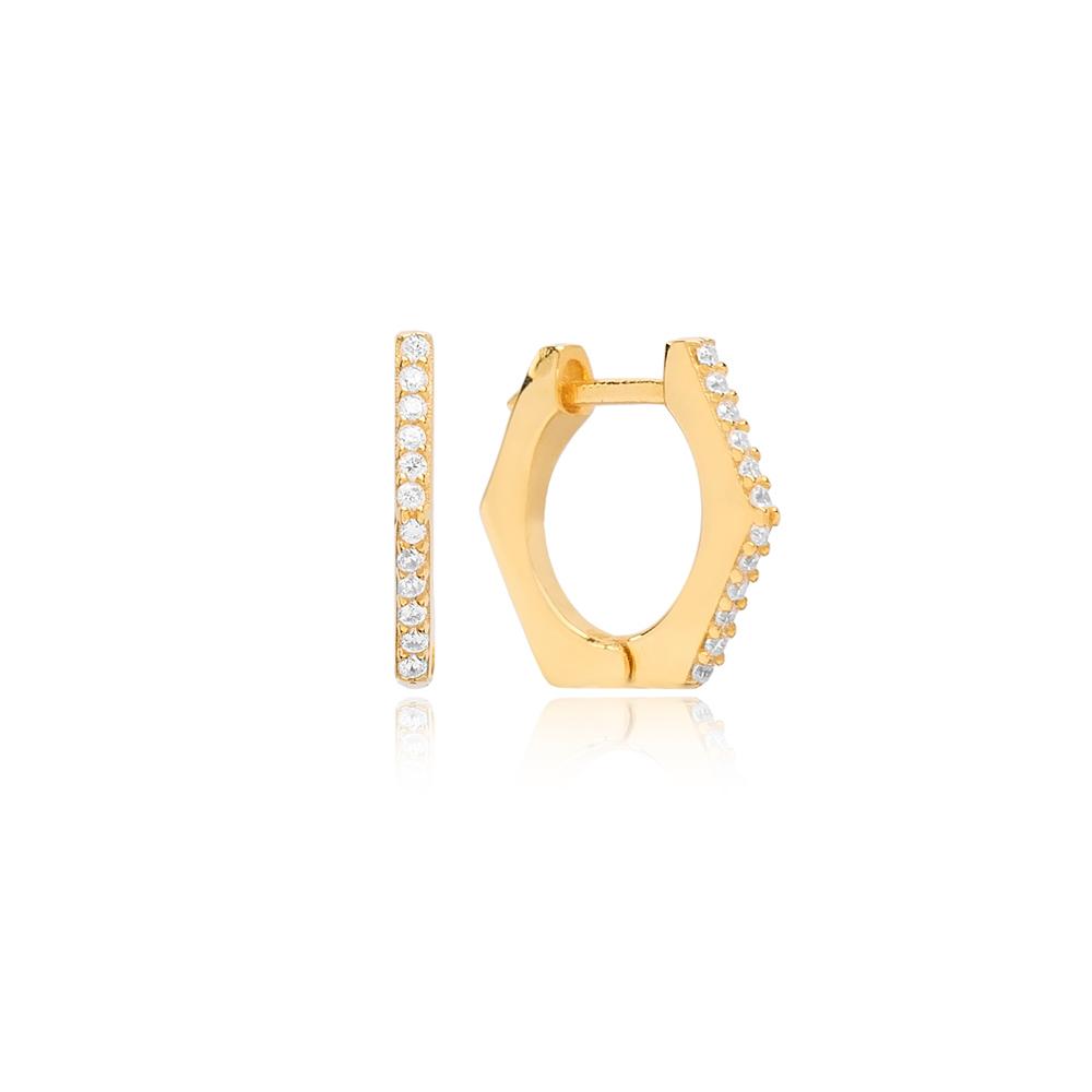 Hexagon Shape Zircon Stone Hoop Earring Turkish Wholesale 925 Sterling Silver Jewellery