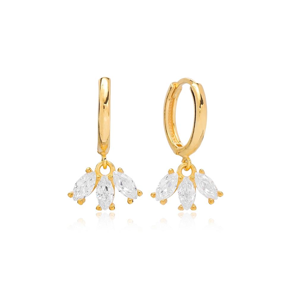 Marquise Cut Zircon Charms Ø13 mm Hoop Earring Turkish 925 Sterling Silver Jewelry