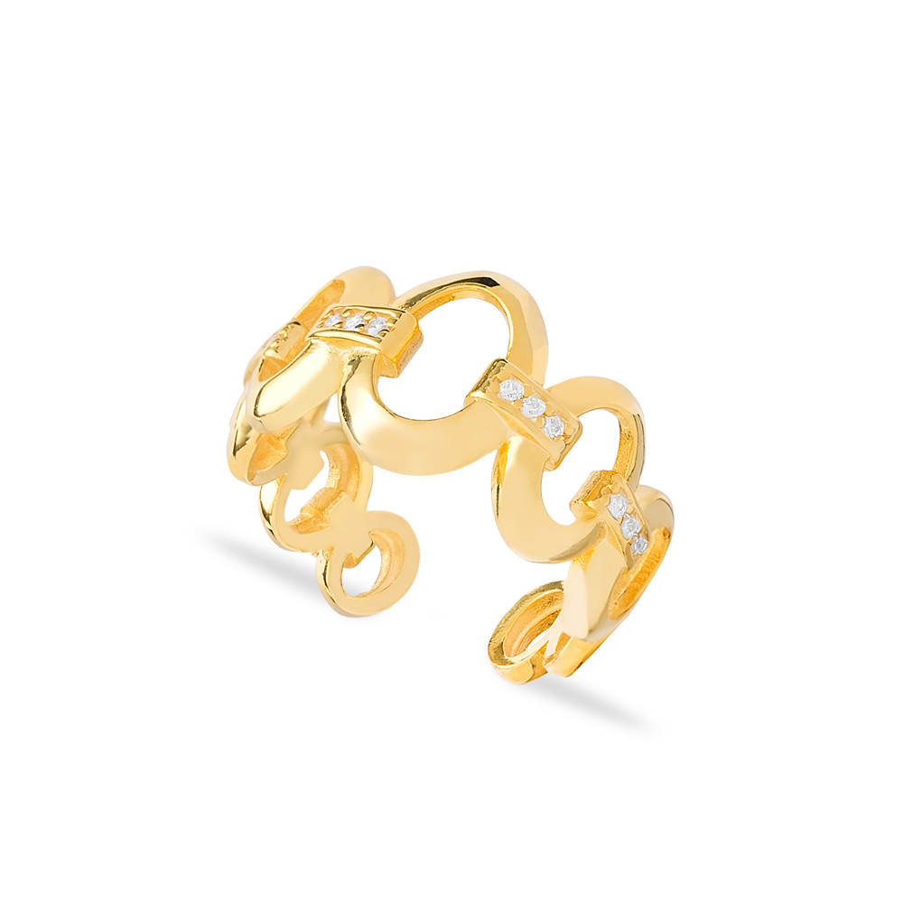 Trendy Cable Chain Adjustable Ring Wholesale Turkish 925 Silver Sterling Jewelry