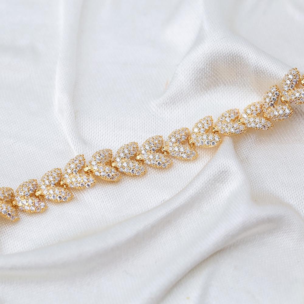 Trendy Palm Design Charm Zircon Bracelet Wholesale 925 Sterling Silver Jewelry