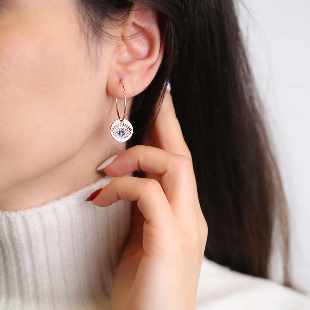 Evil Eye Earrings Turkish Wholesale Handmade 925 Sterling Silver Jewelry