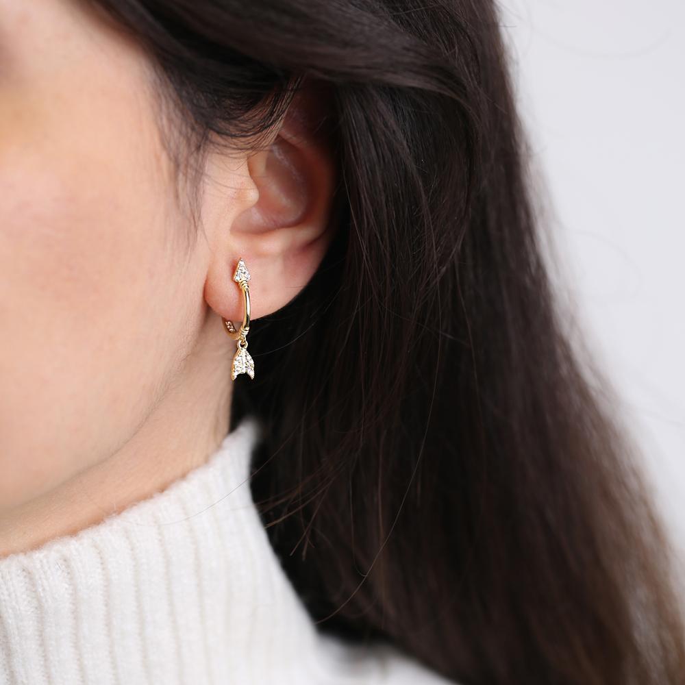 Stylish Arrow Design Zircon Dangle Earring Turkish Wholesale Handmade 925 Sterling Silver Jewelry