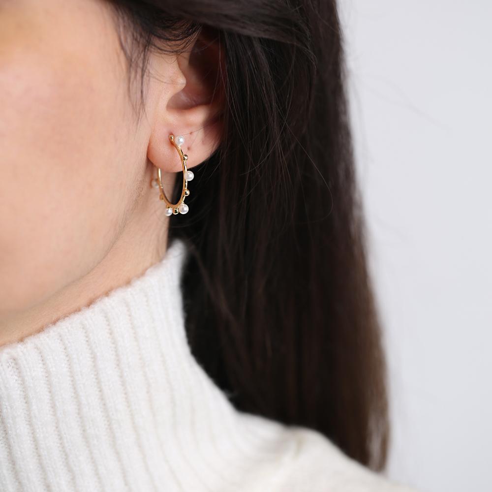 Pearl Hoop Earring Turkish Wholesale Handmade 925 Sterling Silver Jewelry