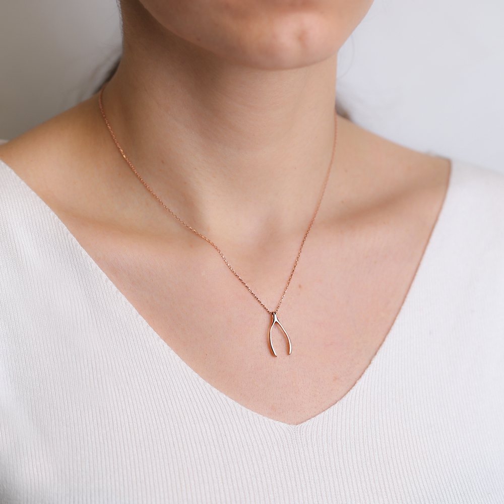 Wishbone Plain Pendant Turkish Wholesale Handcrafted 925 Silver Jewelry