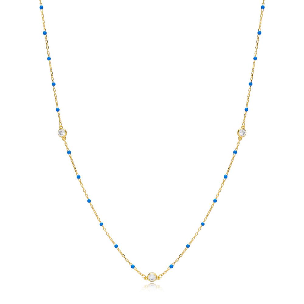 30 Force Zircon Charm Turquiose Enamel Chain 925 Sterling Silver Jewelry
