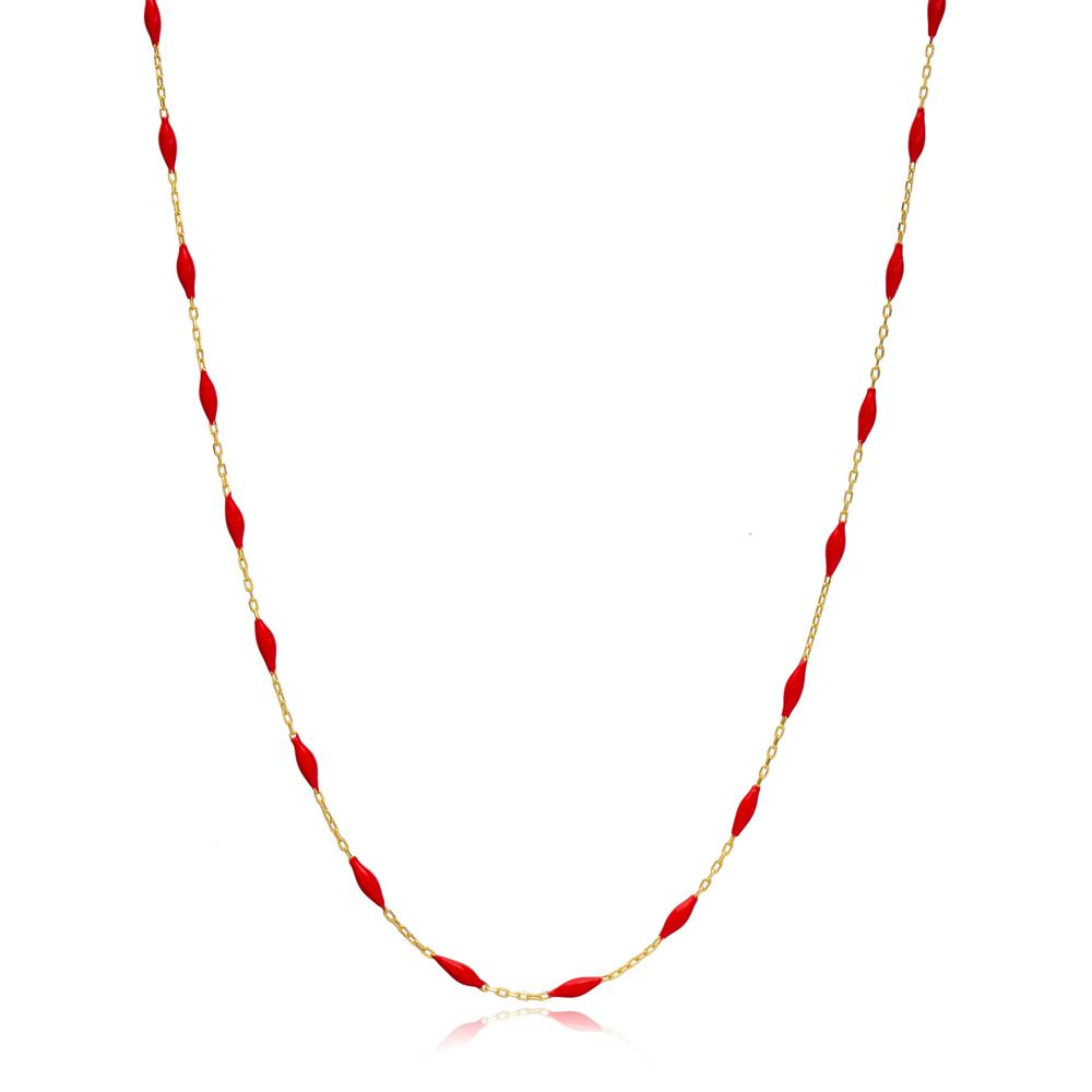30 Force Elegant Red Enamel Chain Turkish 925 Sterling Silver Jewelry