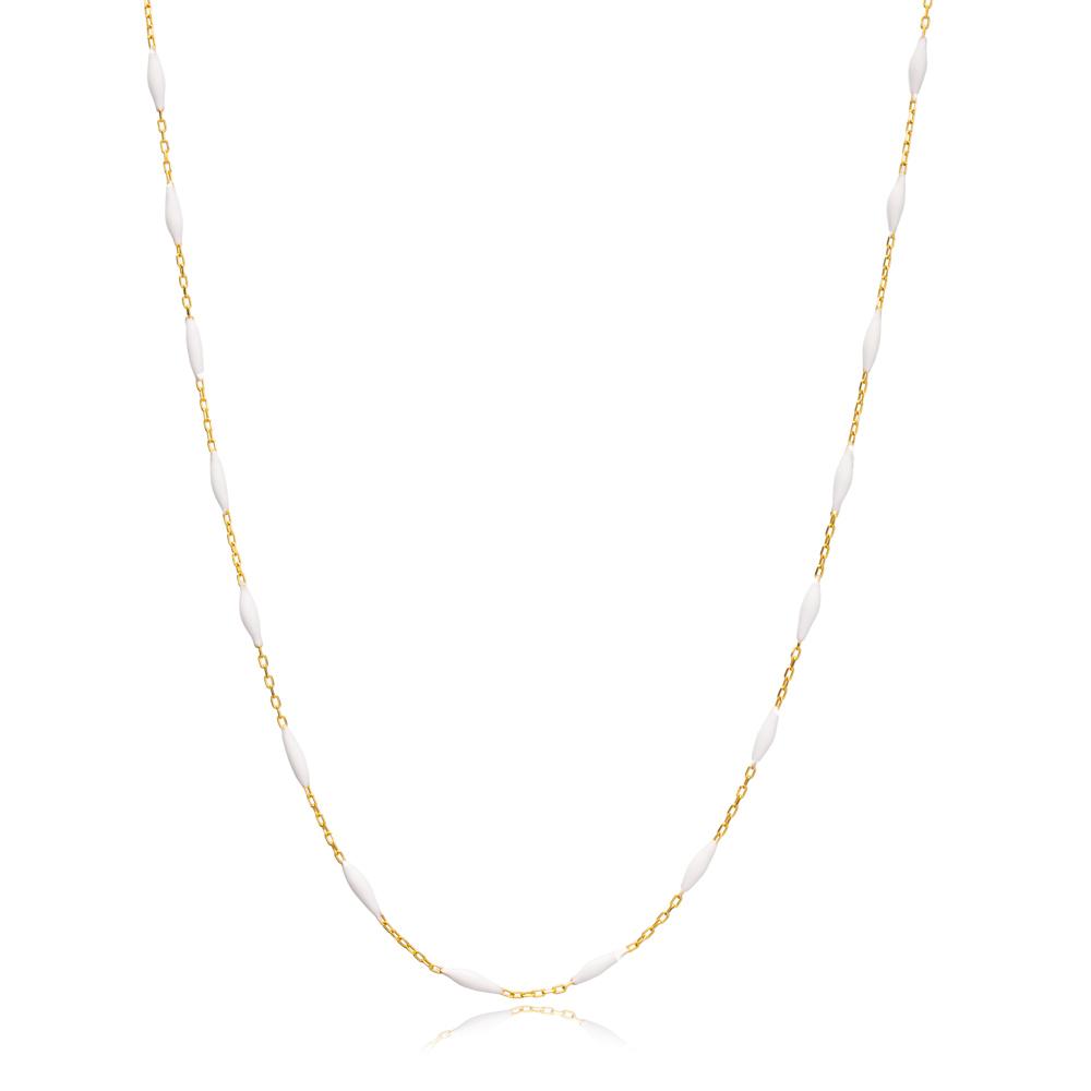 30 Force Elegant White Enamel Chain Turkish 925 Sterling Silver Jewelry