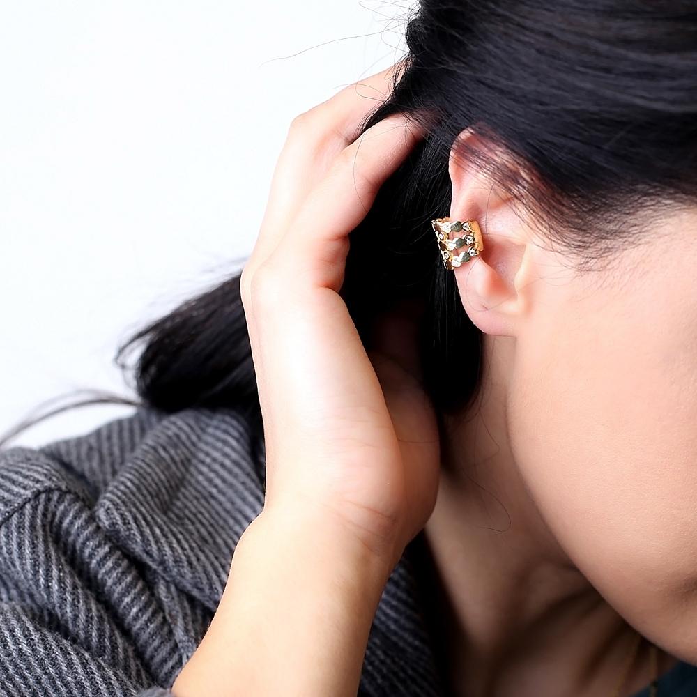 Elegant Heart Design Cartilage Single Earring Turkish 925 Silver Sterling Jewelry