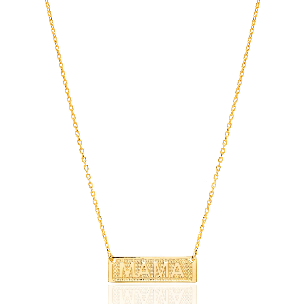 Mama Rectangle Charm Design Pendant Turkish 925 Sterling Silver Jewelry
