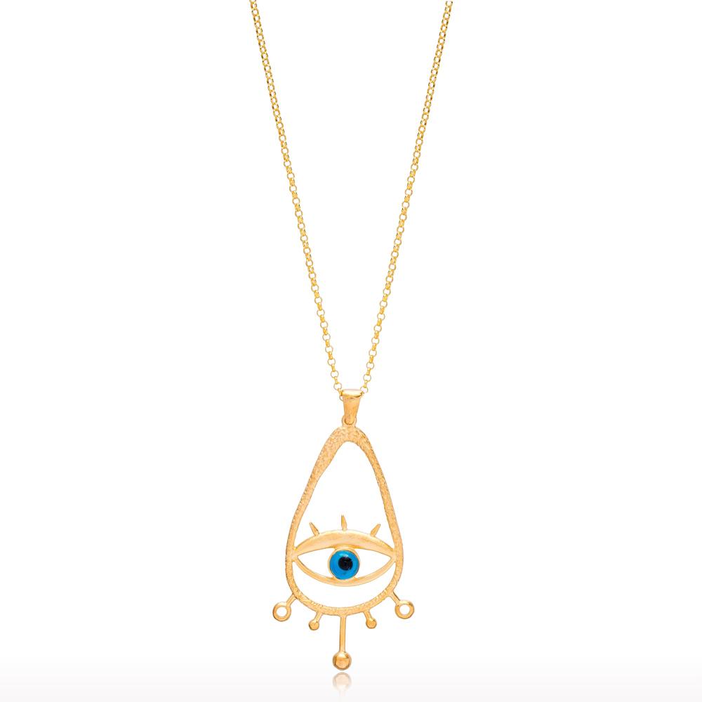 22K Gold Vintage Evil Eye Design Pendant Wholesale Handcrafted 925 Silver Jewelry