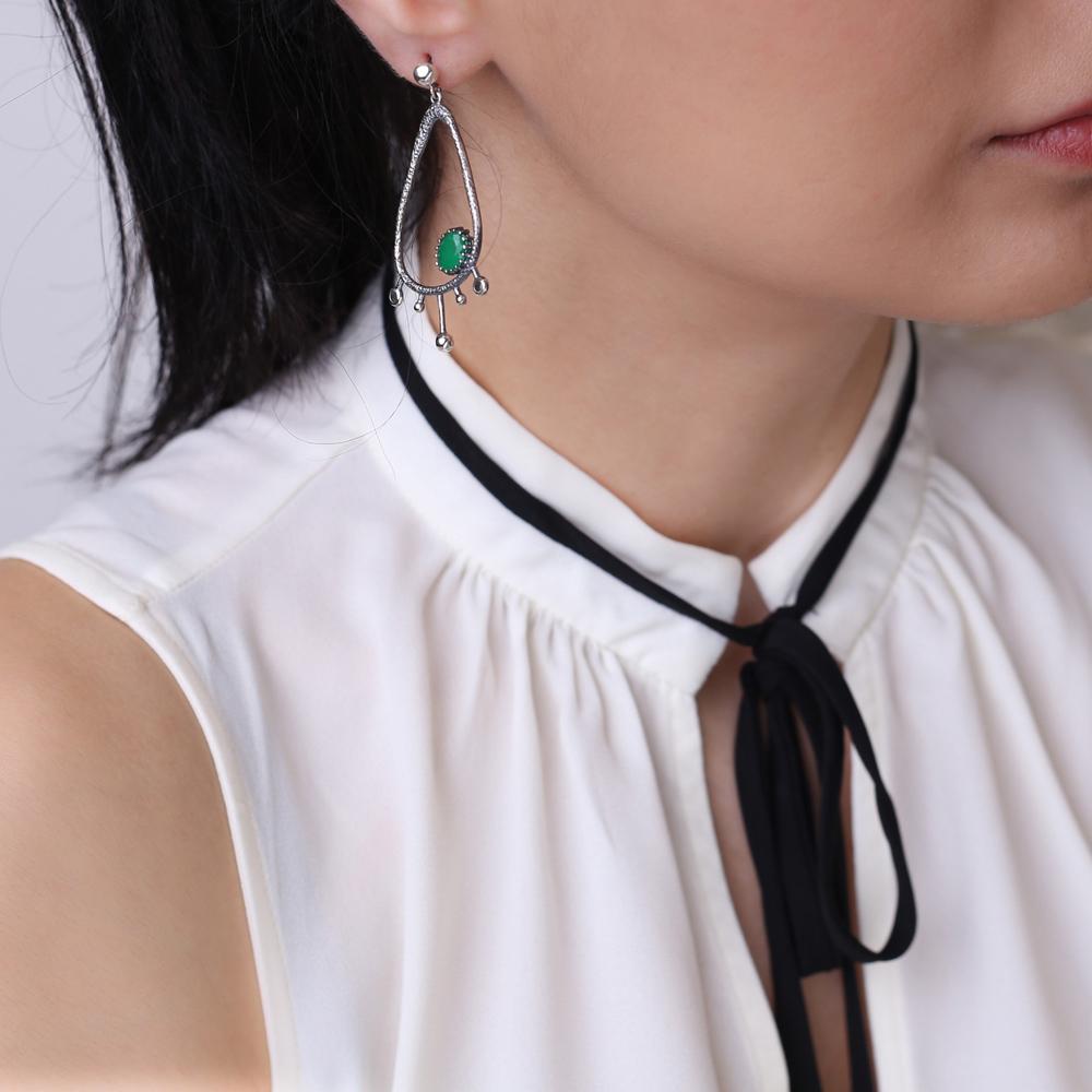 Drop Hollow Shape Malachite Stone Stud Earrings Wholesale 925 Silver Jewelry
