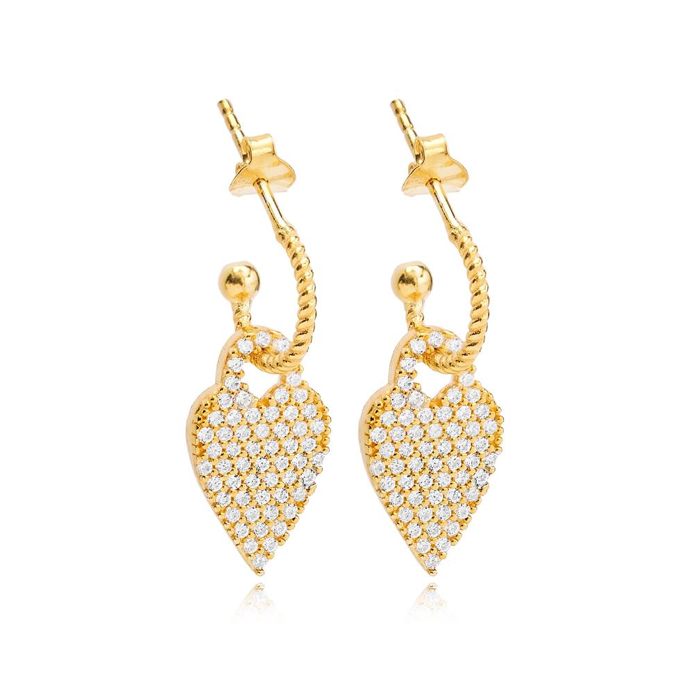 Chic Heart Charm Stud Earrings Wholesale Handmade Turkish 925 Silver Sterling Jewelry